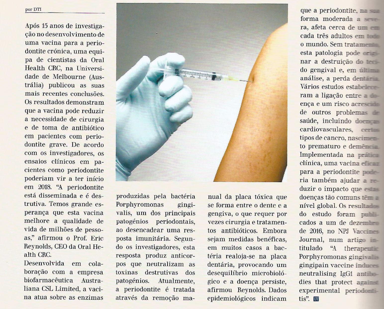 Artigo da Dental Tribune sobre a Vacina dentária contra a periodontite crónica